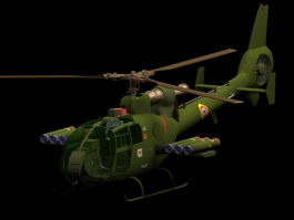 SA 341 armed helicopter 3d model preview