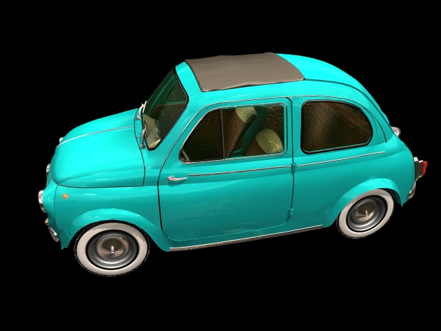 Fiat 500 city car 3d rendering