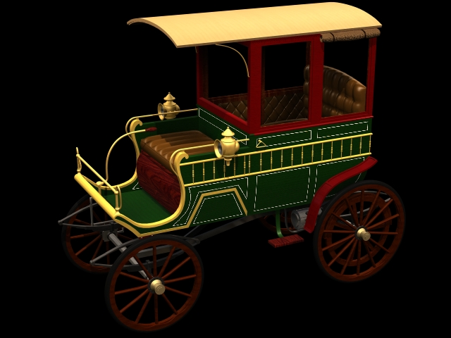 1900 wood station wagon 3d rendering