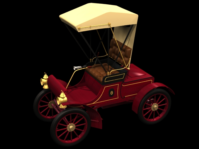1902 Oldsmobile Curved Dash runabout 3d rendering