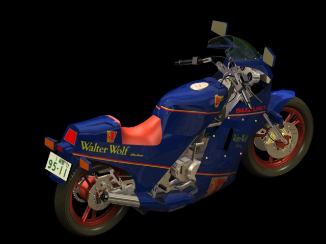 Suzuki RG250 Walter Wolf motorcycle 3d rendering