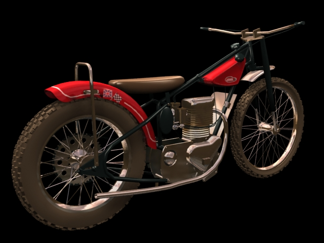 Jawa 500 historic motorcycle 3d rendering