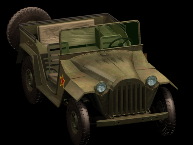 GAZ-67B military jeep 3d rendering