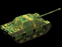 Panther destroyed tank 3d model preview