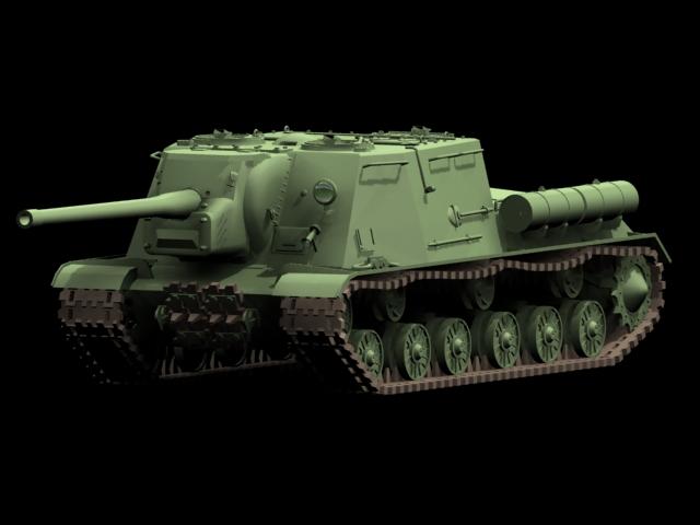 ISU-122 heavy self-propelled gun 3d rendering