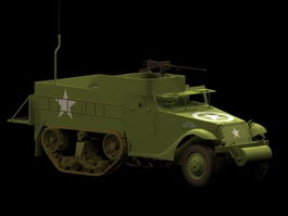M3 Half-track armored vehicle 3d model preview