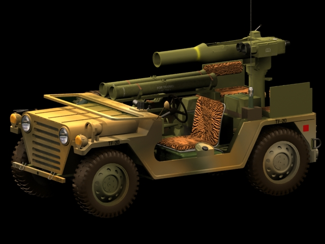 M151A2 TOW missile launcher 3d rendering