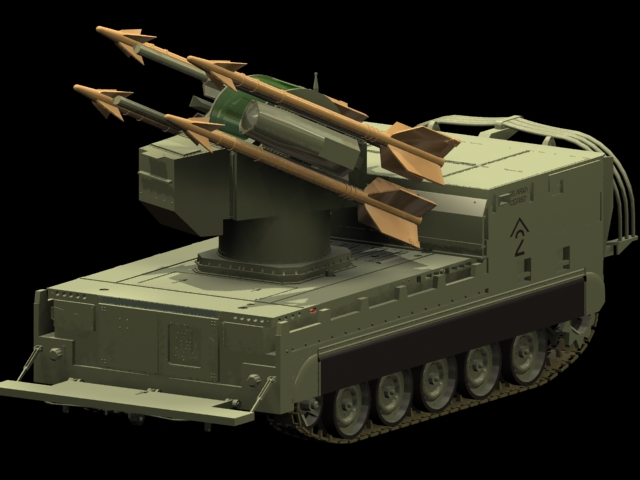 M730 Chaparral Self-propelled SAM launcher 3d rendering