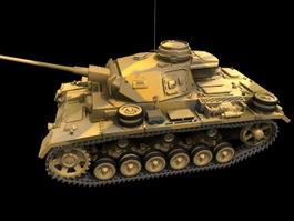 Panzer III medium tank 3d model preview