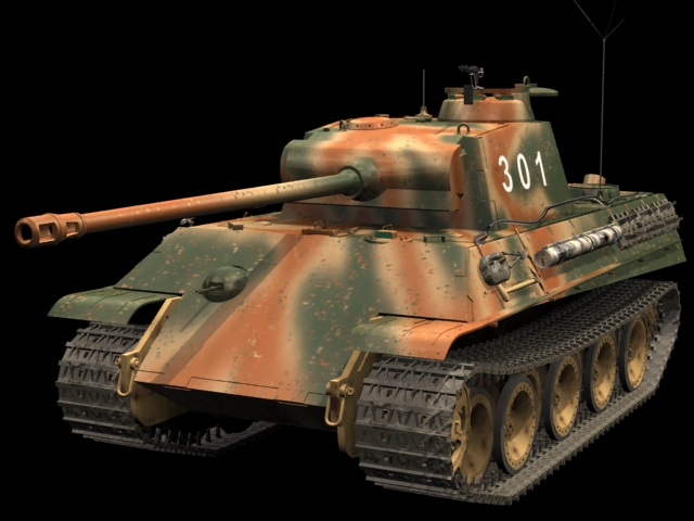 Panzer V Ausf G Heavy tank 3d rendering