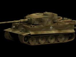 Panzerkampfwagen Tiger tank 3d model preview