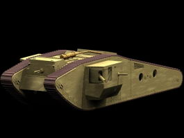 British Mark IV Tadpole tank 3d model preview
