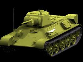 T-34 medium tank 3d model preview