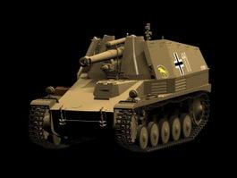 SdKfz 124 Wespe self-propelled artillery 3d model preview