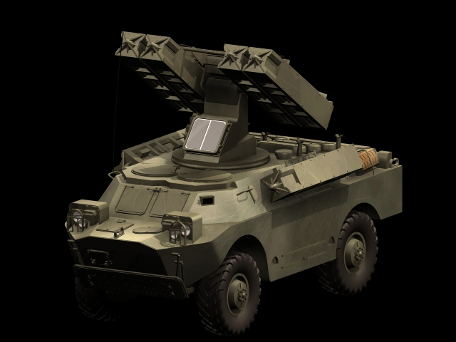 SA-9 Gaskin Vehicle-mounted SAM system 3d rendering