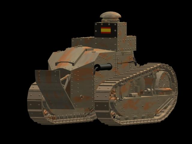 Renault FT-17 Light tank 3d rendering