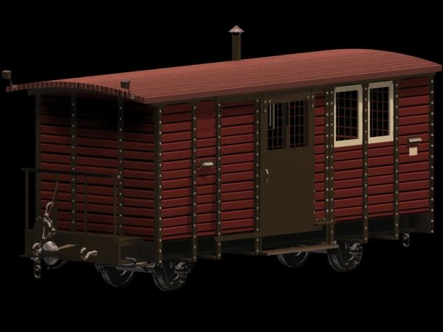 Railway wagon 3d rendering