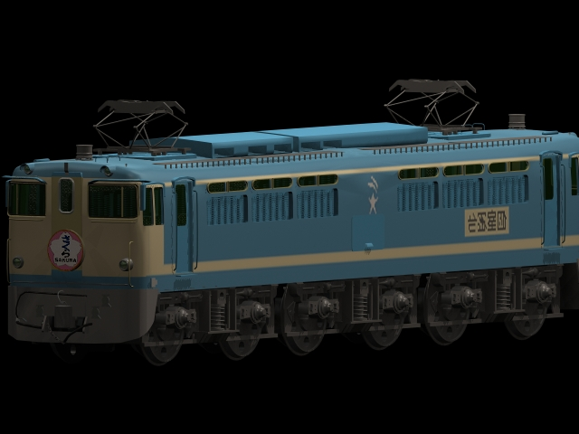 Sakura blue train 3d rendering