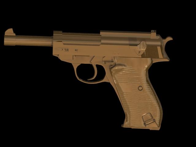 Walther P38 pistol 3d rendering