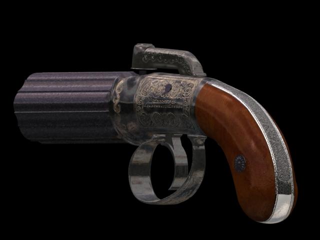 Pepper-box revolver 3d rendering