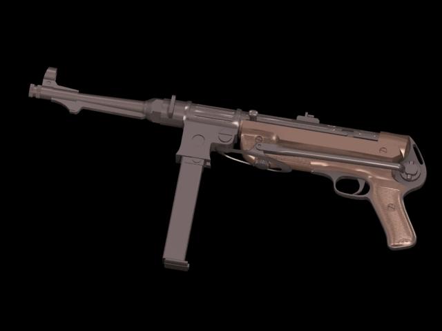 MP 38 submachine gun 3d rendering