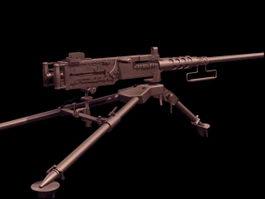 M2 Browning heavy machine gun 3d model preview