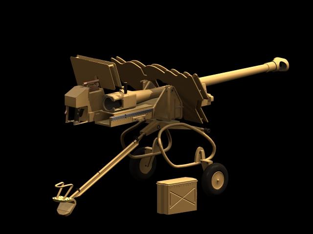 Para anti-tank gun 3d rendering