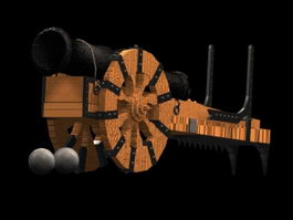 Medieval cannon 3d model preview