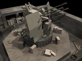 Flak anti-aircraft cannon 3d model preview