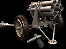 Nebelwerfer rocket launcher 3d model preview