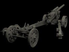 German field artillery 3d model preview