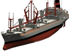 Container cargo ship 3d preview