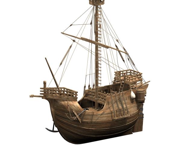 Oldest fishing ship 3d rendering