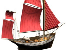 Nautical sailing boat 3d preview