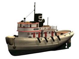 Diesel tugboat 3d model preview