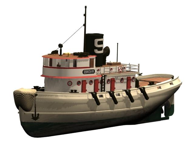 Diesel tugboat 3d rendering