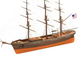 Flying cloud clipper ship 3d preview
