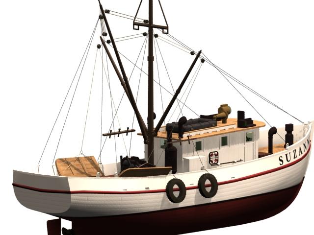 Shrimp boat 3d rendering