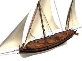 Three masts sailing ship 3d model preview