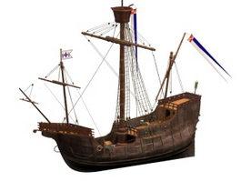 Santa Maria ocean-going ship 3d model preview