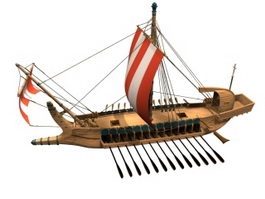 Ancient Greek warship 3d model preview