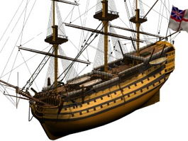 HMS Victory naval warship 3d model preview