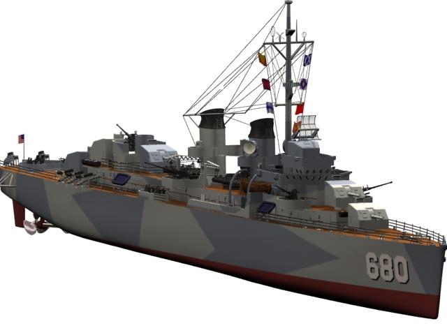 USS Fletcher destroyer 3d rendering