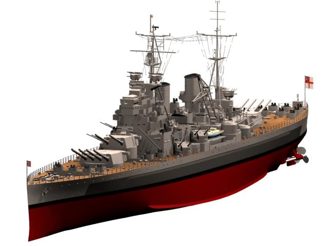 King George V-class battleship 3d rendering