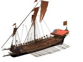 La Reale war galley 3d model preview