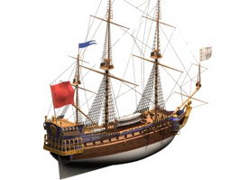 French frigate Sirene 3d model preview