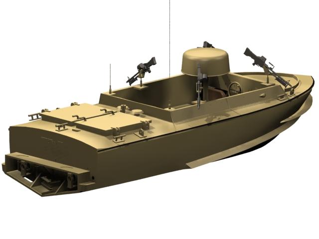 Small motor gun boat 3d rendering