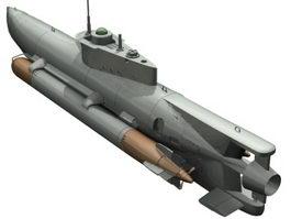 Seehund midget submarine 3d model preview