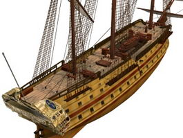 French Glorieux warship 3d model preview