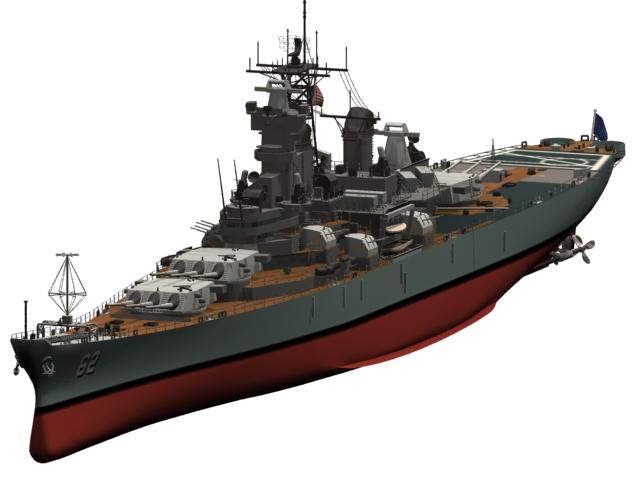 USS New Jersey BB-62 battleship 3d rendering
